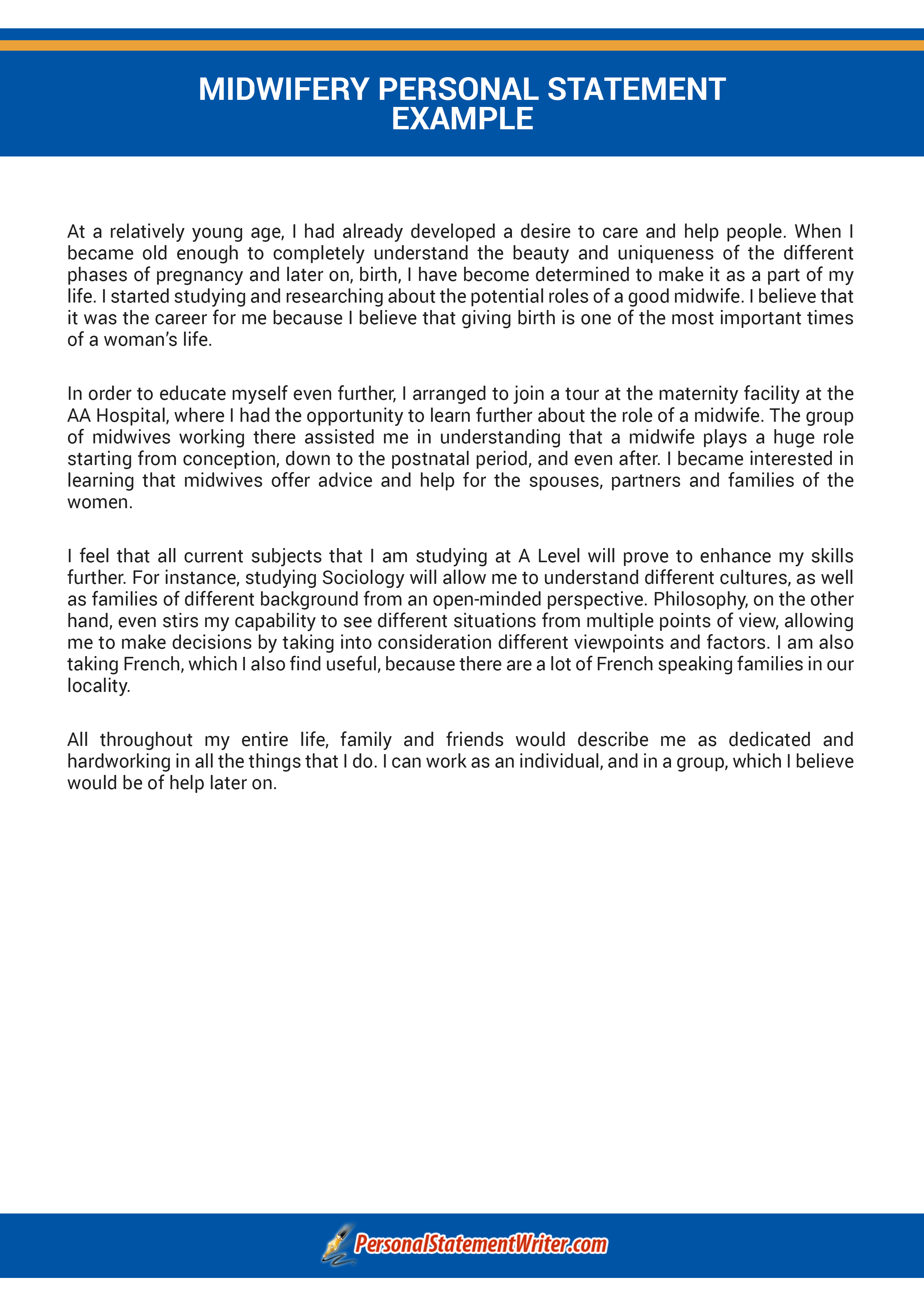 get midwifery personal statement