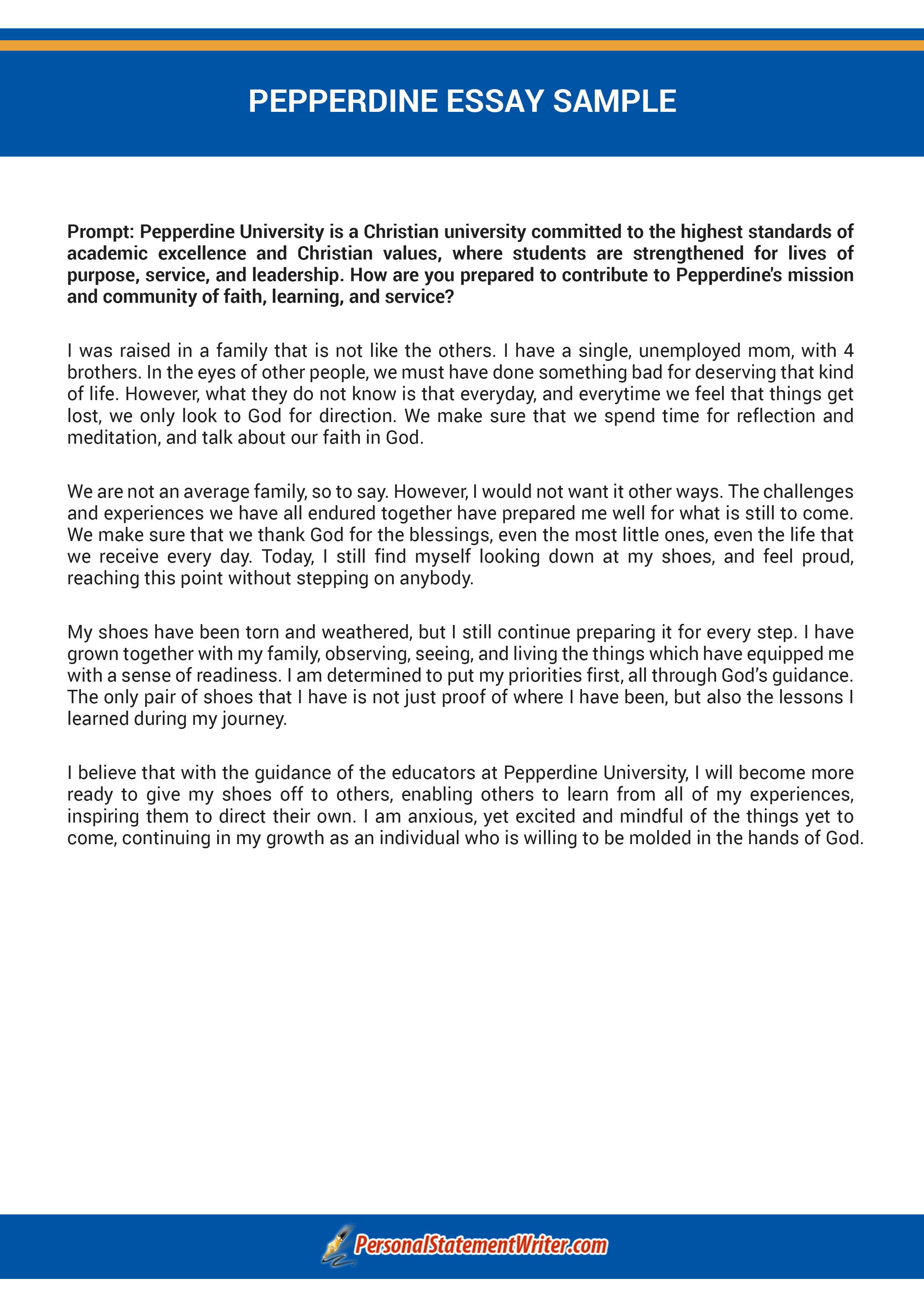 Pepperdine admissions essay