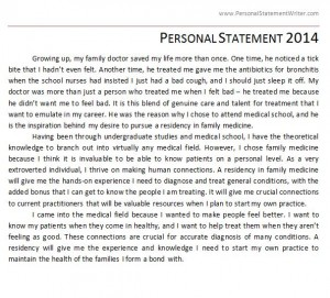 Personal Statement 2014