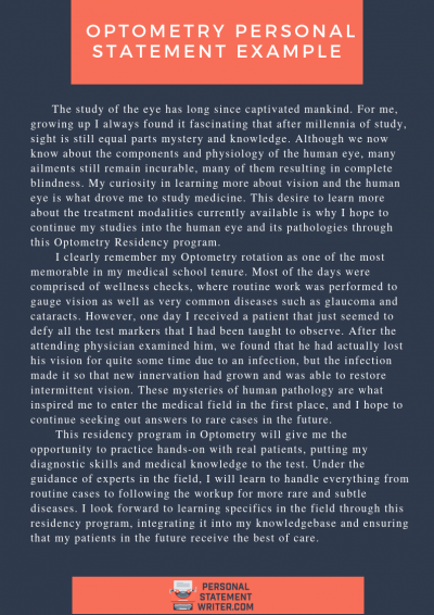 optometry personal statement sample