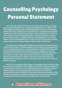counselling psychology personal statement sample