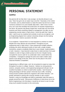 1 page personal statement sample