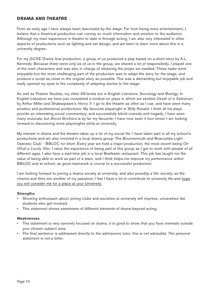 Personal statement writers letter sample