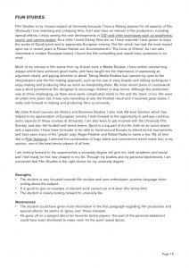 film studies personal statement example