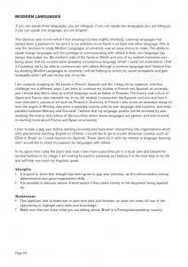 linguistics major personal statement sample