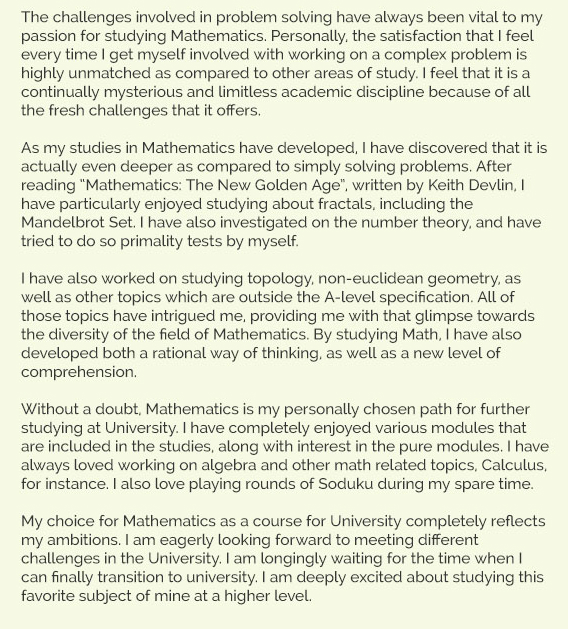 maths personal statement sample