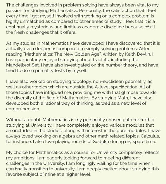 Maths personal statement
