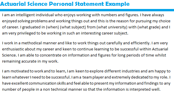 personal statement actuarial science sample