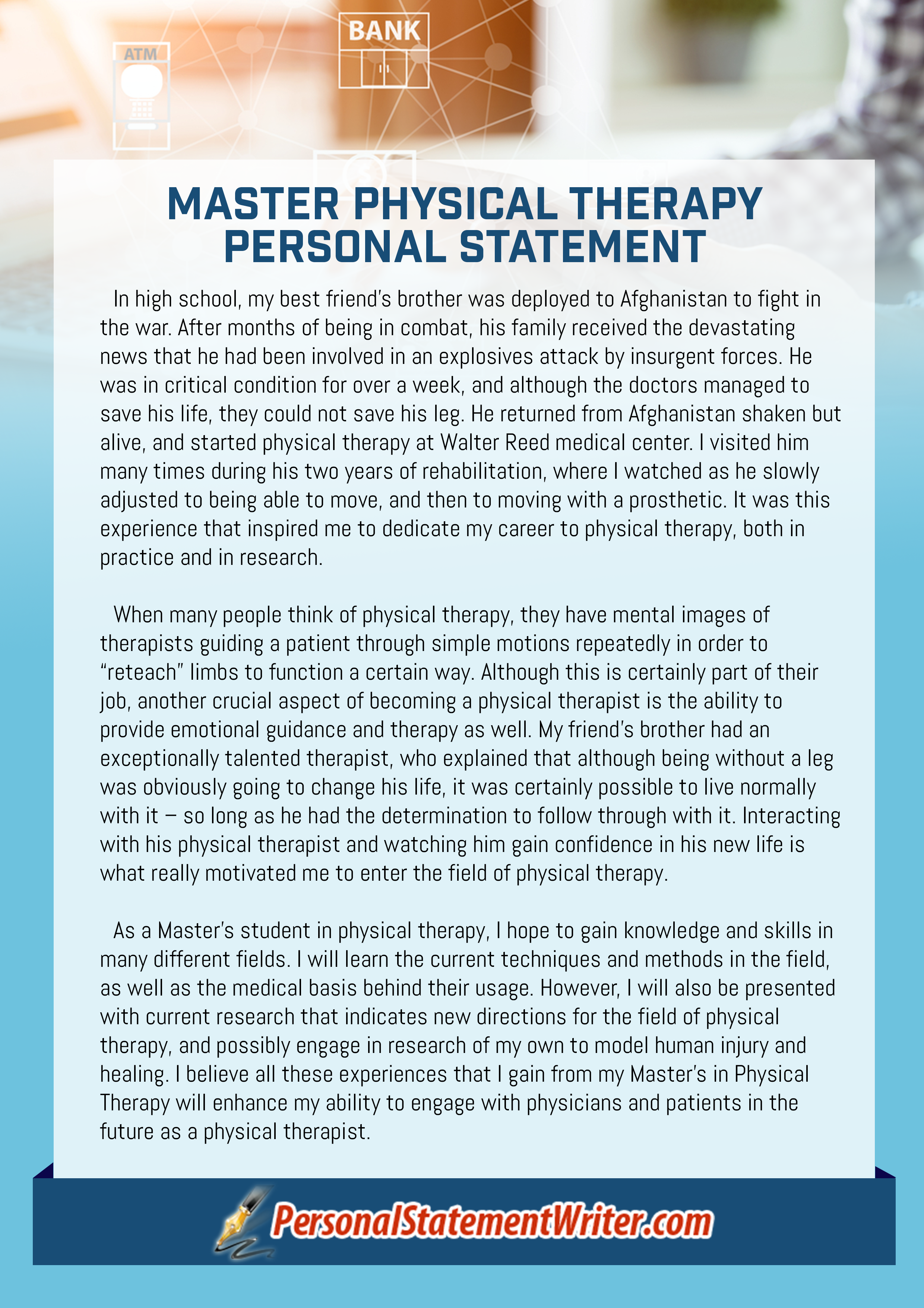 master physical therapy personal statement