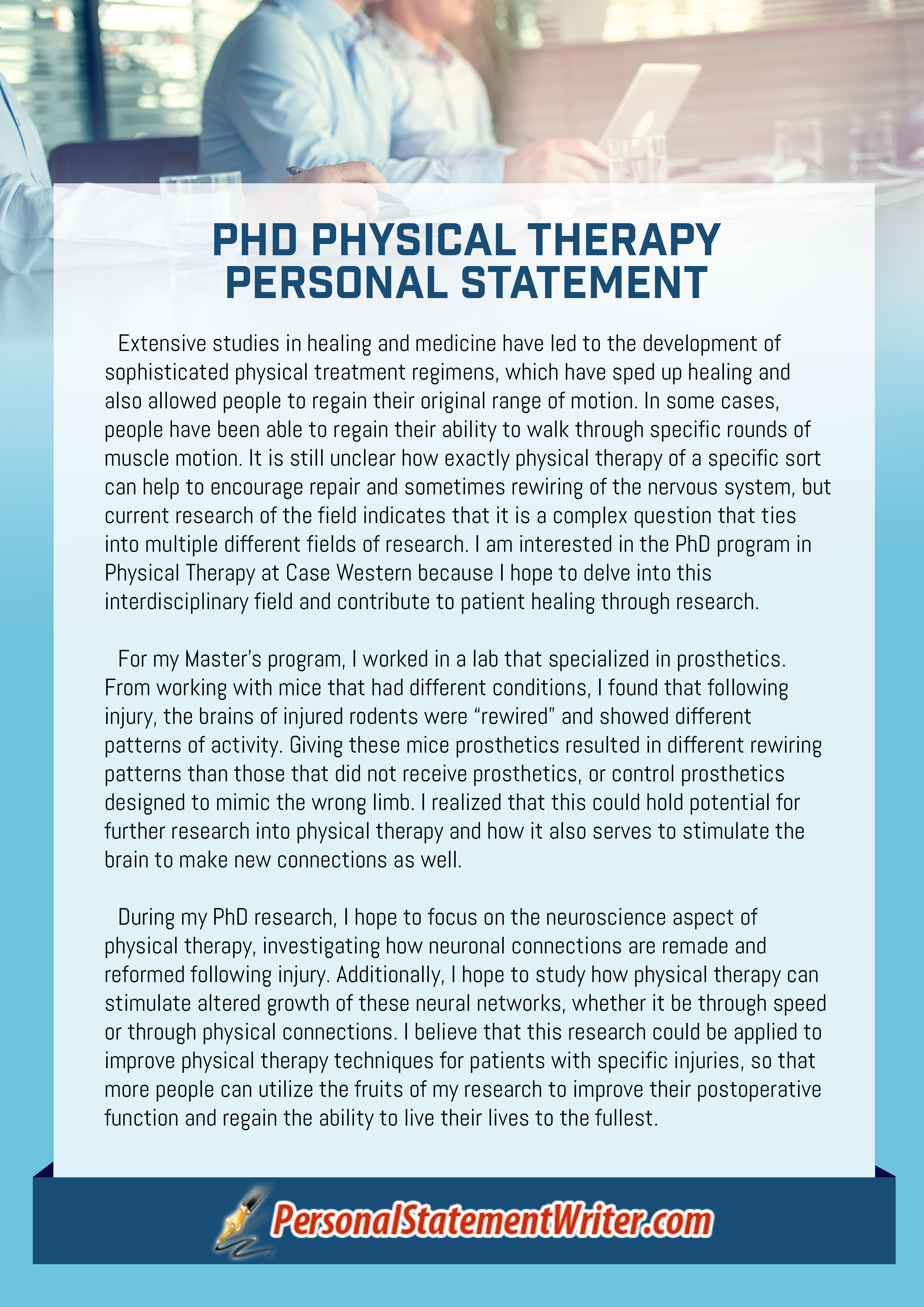 phd physical therapy personal statement