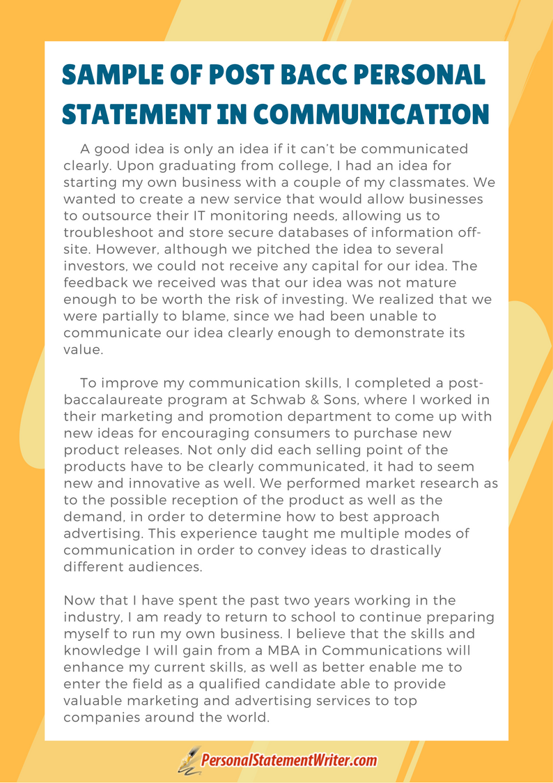 post bacc personal statement example communication