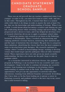 sample candidate statement graduate school