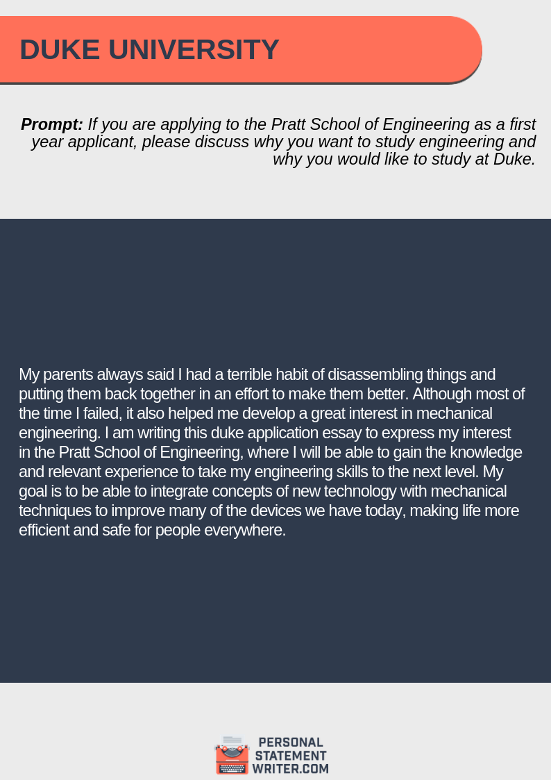 Duke admissions essay